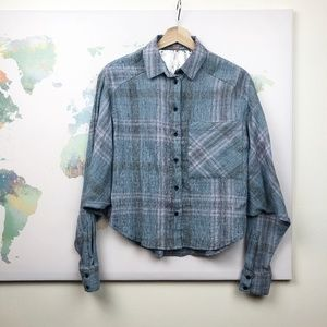 Free People Cutie Plaid Button Down Shirt Size XS